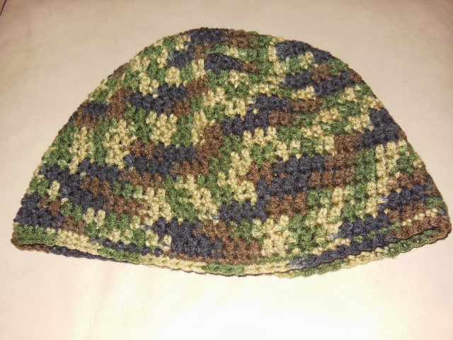 My Third Double Crochet Beanie - Camo