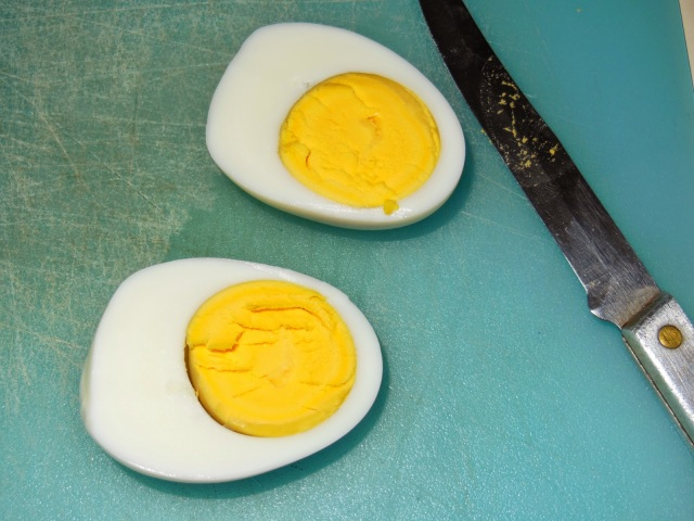 Hard Boiled Eggs Cut in Half Lengthwise