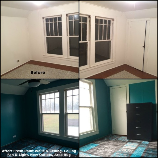 1940 Farmhouse Upstairs Bedroom Makeover - Before and After