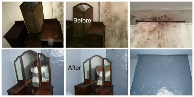 Before and After of Ceiling and Chimney Water Stain Repair