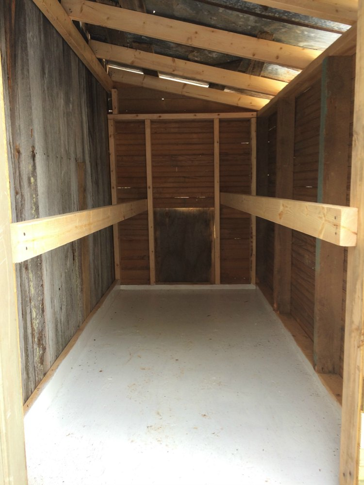 Inside Chicken Coop With Roosts and Painted Plywood Floor